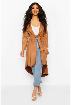 Tan Faux Suede Duster Coat With Tie Waist