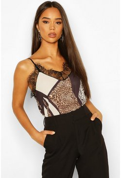Brown Animal Print Lace Trim Side Split Cami
