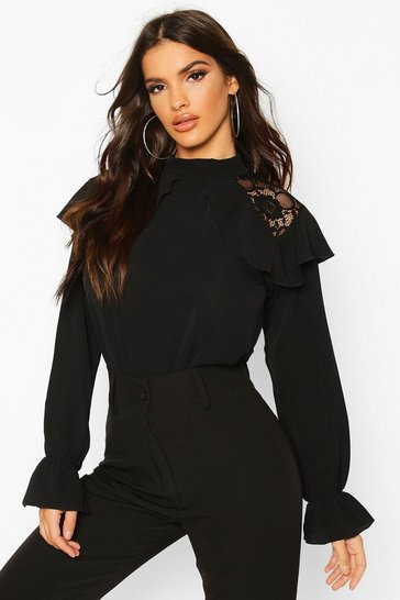 Black Lace Detail Ruffle Blouse