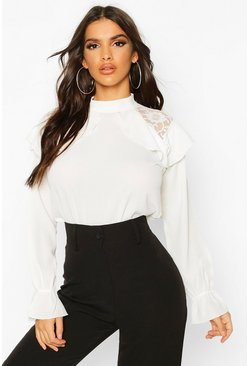Womens Ivory Lace Detail Ruffle Blouse