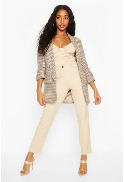 Brown Dogtooth Check Ruched Sleeve Blazer