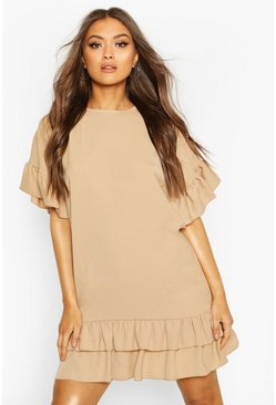 Mocha Frill Sleeve & Hem Shift Dress