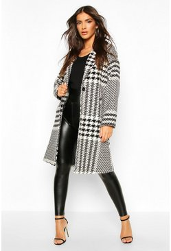 Cream Dogtooth Check Tailored Wool Look Coat