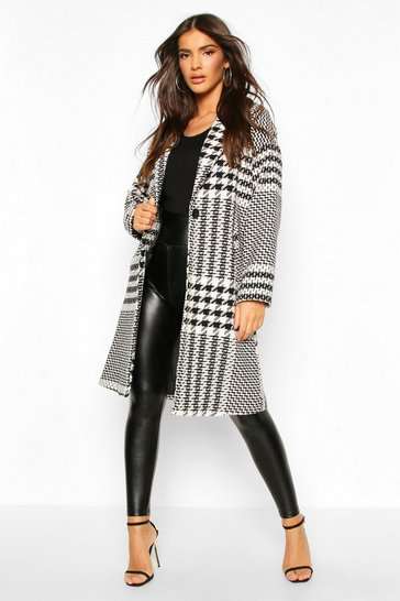 Womens Cream Dogtooth Check Tailored Wool Look Coat