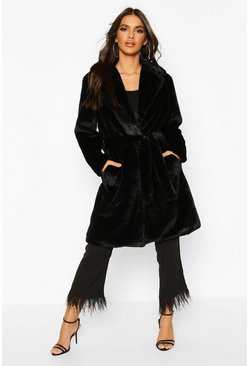 Black Belted Faux Fur Robe Coat