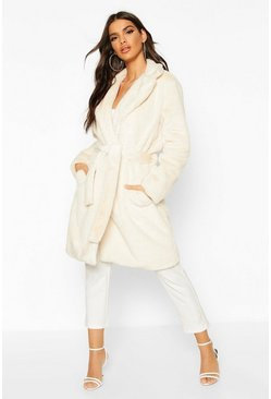 Cream Belted Faux Fur Robe Coat