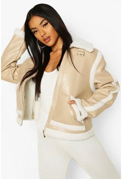 Stone Bonded Faux Leather Teddy Trim Jacket