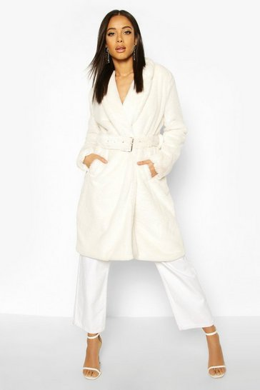 Cream Faux Fur Buckle Belt Longline Coat