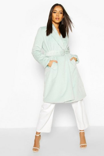 Sage Faux Fur Buckle Belt Longline Coat