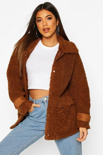 Camel Pocket Detail Teddy Faux Fur Trucker Jacket