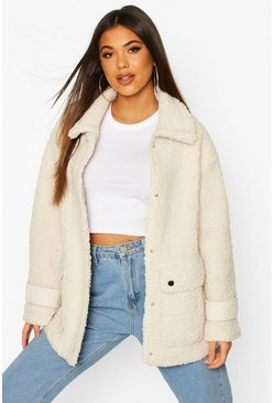 Cream Pocket Detail Teddy Faux Fur Trucker Jacket