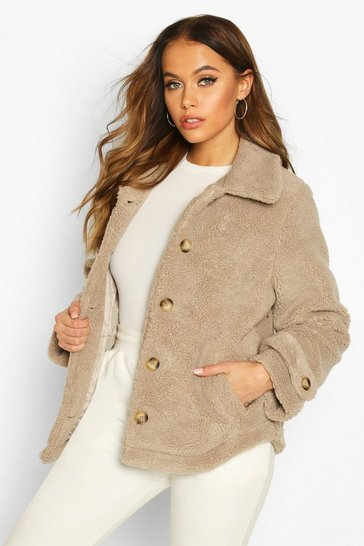 Stone Teddy Faux Fur Curved Hem Coat