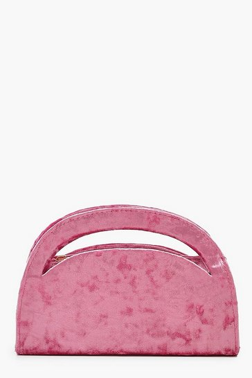 Pink Velvet Structured Handle Clutch Bag & Chain