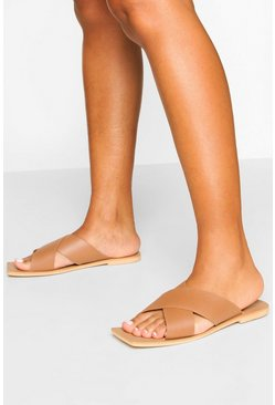 Tan Leather Cross Strap Square Toe Slides
