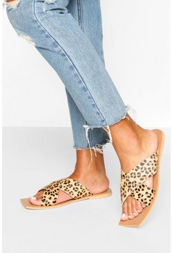 Leather Leopard Cross Strap Square Toe Sliders
