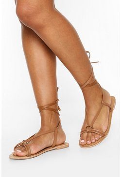 Tan Leather Knot Detail Wrap Strap Sandals
