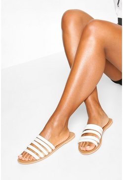 White Leather Multi Strap Sandals