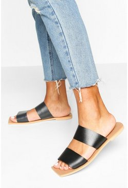 Black Leather Double Strap Square Toe Sliders