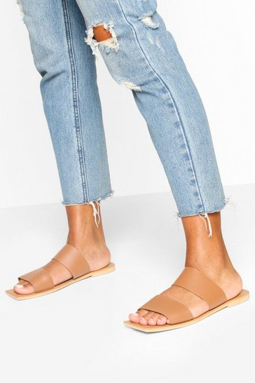 Tan Leather Double Strap Square Toe Sliders