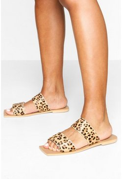 Leather Leopard Double Strap Square Toe Sliders