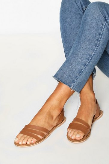 Tan Leather 3 Strap Sandals
