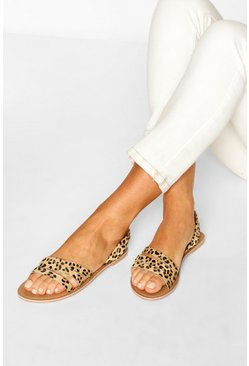 Leopard Leather 3 Strap Sandals