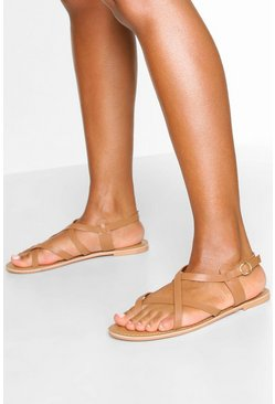 Tan Leather Cross Strap Sandals