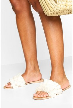 Natural Pom Pom Fringe Detail Sliders