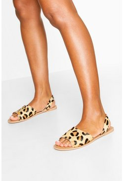 Tan Leather Leopard Print Sandals