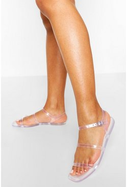 Clear 3 Strap Jelly Sandals