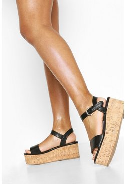 Black Square Toe 2 Part Flatforms