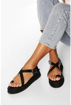 Black Toe Post Cross Strap Espadrille Flatforms