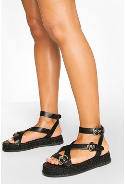 Black Strappy Buckle Detail Espadrille Flatforms