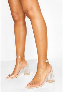 Nude Square Toe Clear Block Heel 2 Parts