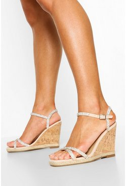 Nude Diamante Strap Cork Wedges