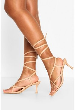 Nude Strappy Toe Post Low Stiletto Heels