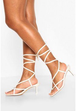 White Strappy Toe Post Low Stiletto Heels