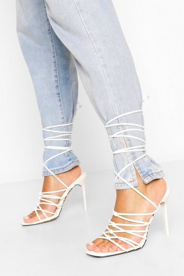 White Knot Detail Stiletto Strappy Heels