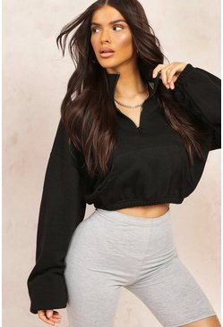 Black Mix & Match Edition Oversized Zip Sweat Crop