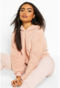 Pink Cropped Hooded Borg Fleece