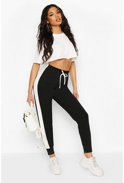 Black Side Stripe Cuffed Hem Jogger