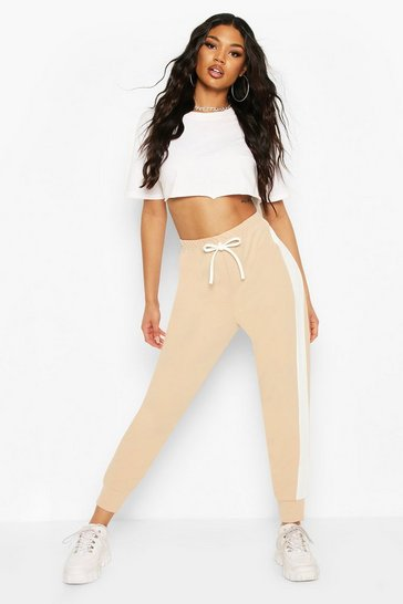 Stone Side Stripe Cuffed Hem Jogger