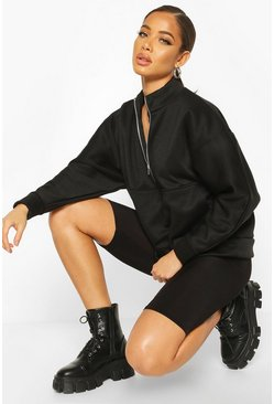 Black Oversized Turtle Neck Sweat With Zip