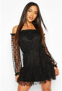 Black Spot Mesh Bardot Dress With Tie