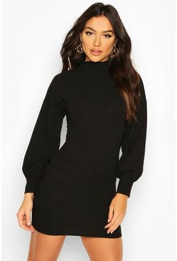 Dam Black Tie Back Mini Dress With Balloon Sleeves
