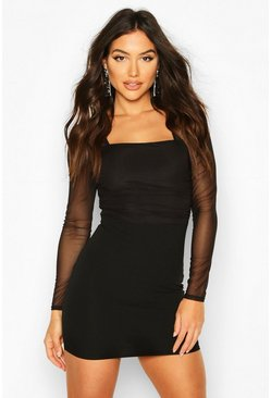 Black Square Neck Mini Dress With Gathered Mesh Detail