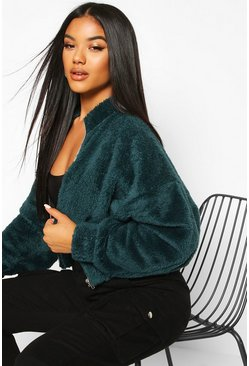 Forest Zip Through Oversized Teddy Sweat