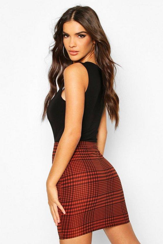 Jersey Check Mini Skirt