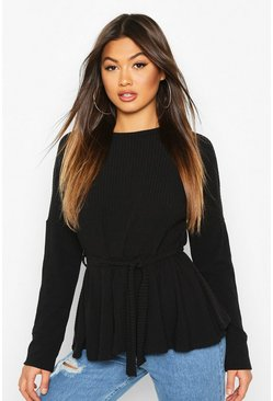 Black Easy Fit Peplum Top With Tie Front