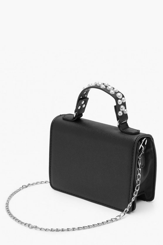 Textured PU Pearl Handle Cross Body Bag